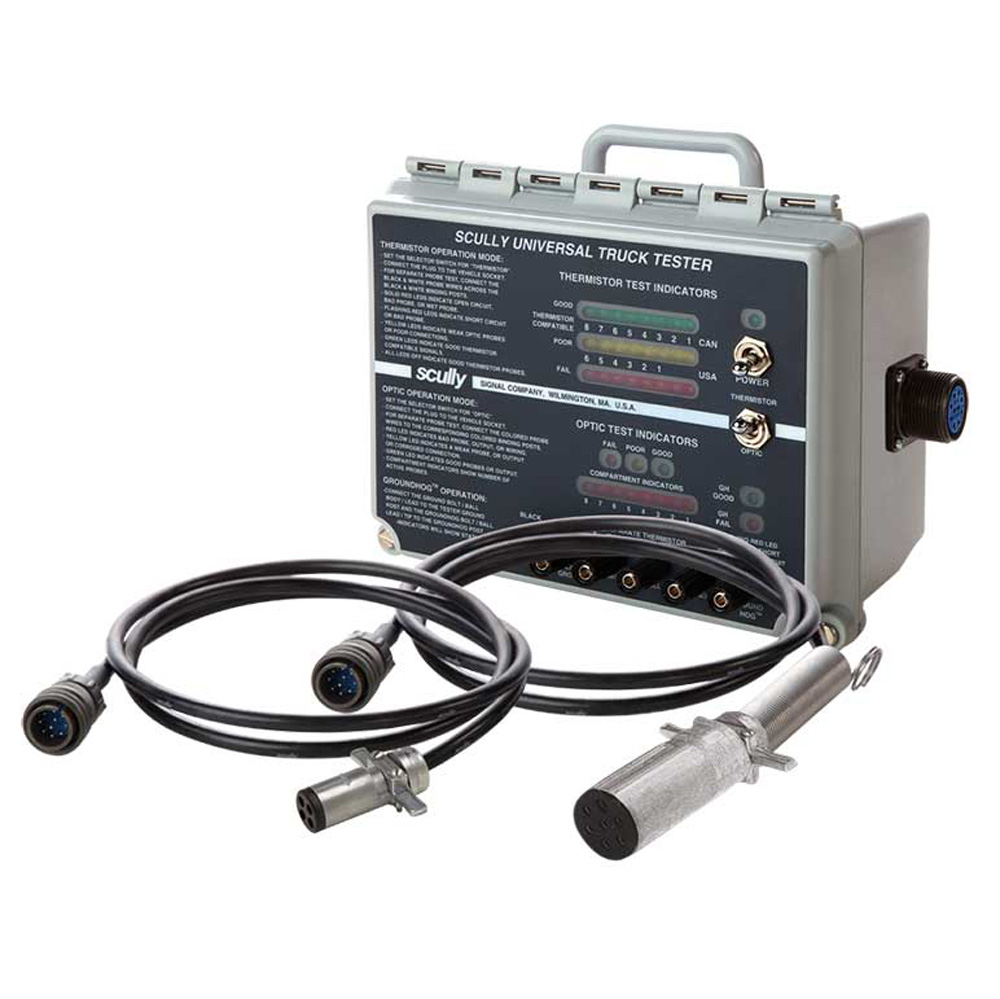 The tester is compatible with Scully Intellicheck® Load Anywhere®, and  independent Scully optic and thermister tank truck sensors.